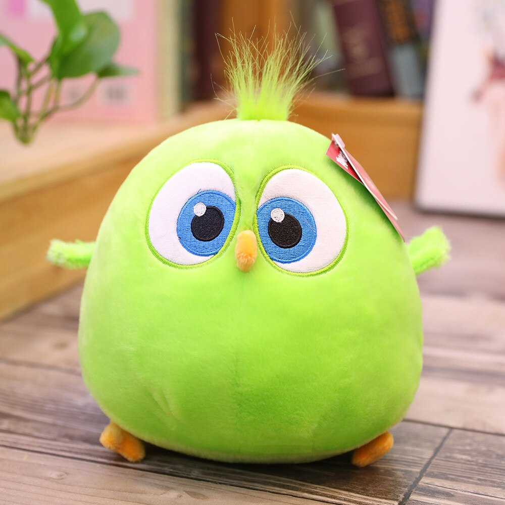green hairy chicken bird plush toy