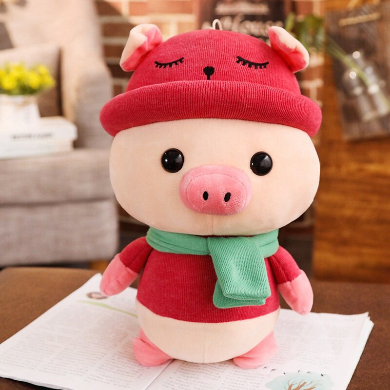 red cute pig plushie