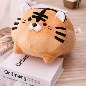 brown tiger plush toy cute with sticking teeth but safe to take home