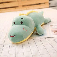 Load image into Gallery viewer, green smiling dinosaur plushie