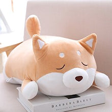Load image into Gallery viewer, fat squishy brown closed eyes shiba inu plushie