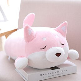 fat squishy pink closed eyes shiba inu plushie