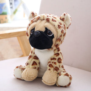 cute pug dog in leopard plushie