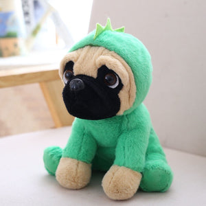 cute pug dog in dinosaur plushie