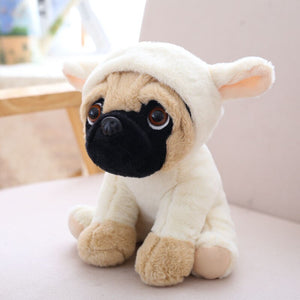 cute pug dog in rabbit plushie