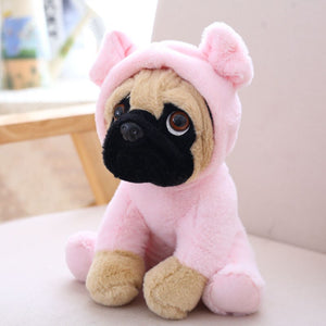 cute pug dog in pig plushie