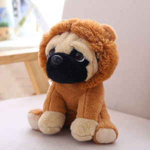 cute pug dog in lion plushie