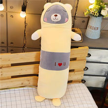 Load image into Gallery viewer, grey bear long pillow plushie