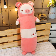 Load image into Gallery viewer, pink pig long pillow bolster plushie