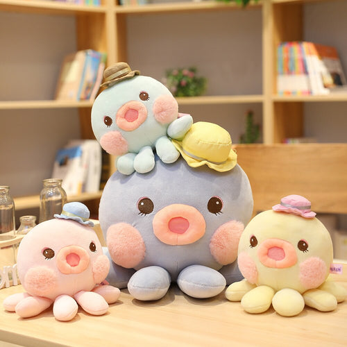cute octopus with hat plush toy available in pink, blue, lake blue, and yellow