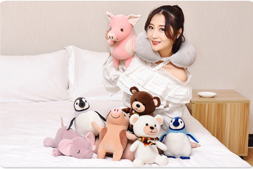 cute animal plush toy transformable to neck pillow