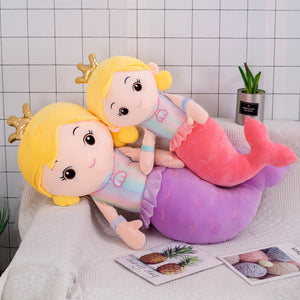cute mermaid pillow plush toy in pink and purple