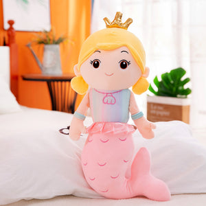 cute mermaid pink plushie with crown
