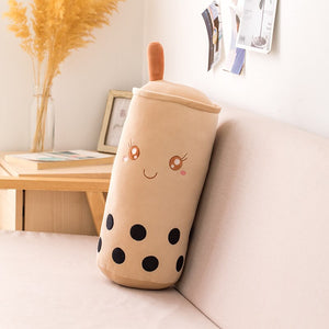 cute and smiley cylindrical boba bubble milk tea plush toy perfect decoration for your living room sofa