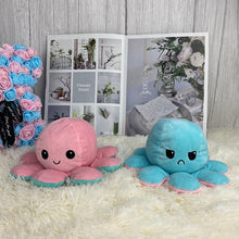 Load image into Gallery viewer, pink and turquoise cute reversible octopus stuffed animal perfect gift for friends