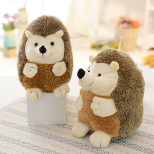 brown hedgehog plushie with two sizes cute and round