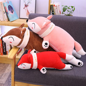 pink fox plushie, brown fox plushie and red fox plushie