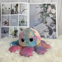 Load image into Gallery viewer, cute rainbow octopus plushie reversible into smiley and angry face
