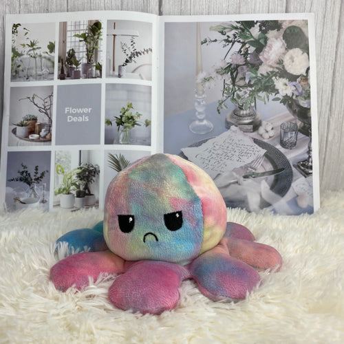 cute rainbow octopus plushie reversible into smiley and angry face