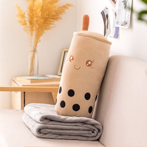 cute smiley real-like bubble milk tea plush toy perfect decoration for your living room with comfortable blanket