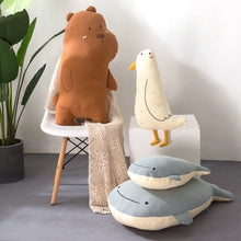 Load image into Gallery viewer, stuffed bear plushie, stuffed seabird plushie, stuffed whale plushie