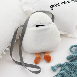 This cute egg plushie can keep your phone egg-stremely safe with the zip at the back!