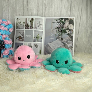 pink and turquoise cute reversible octopus plush toy