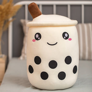 white bubble milk tea with boba plushie