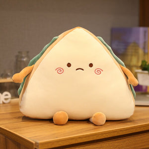 cute sad faced sandwich plush toy