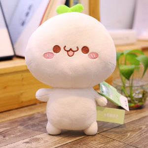 cute dumpling plushie waving hands and smiling