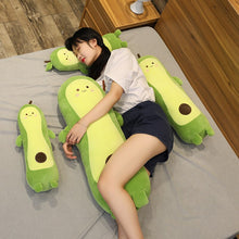 Load image into Gallery viewer, girl hugging avocado long pillow bolster plushie