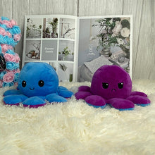 Load image into Gallery viewer, dark blue and purple cute reversible octopus stuffed animal