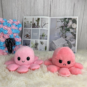 cute pink octopus plushie reversible into angry and smiley face