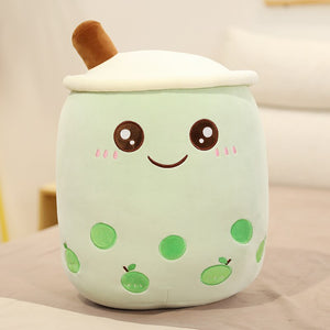 cute green apple boba tea plush toy