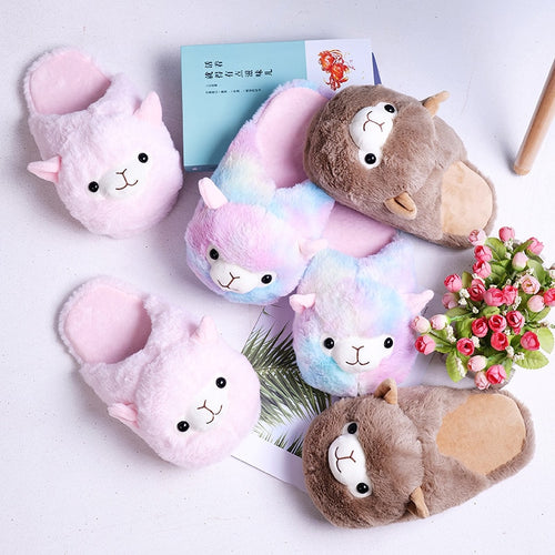 cute unicorn pink brown alpaca llama indoor shoes warm winter adult princess plush