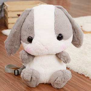 grey stuffed bunny cute backpack