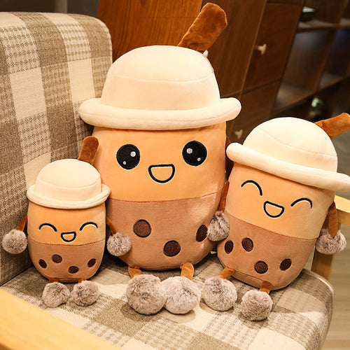cute cartoon bubble milk tea plushie comes in different sizes and different expression