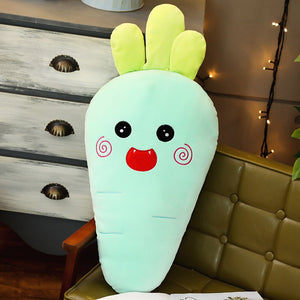 giant carrot plush toy plushie stuffed vegetables cute yellow brown orange blue line bears