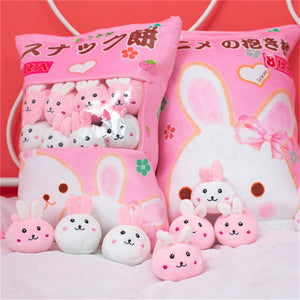 cute mini bunny plushie snack in pudding bag