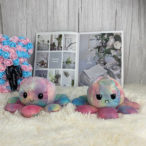 cute rainbow reversible octopus plush toy