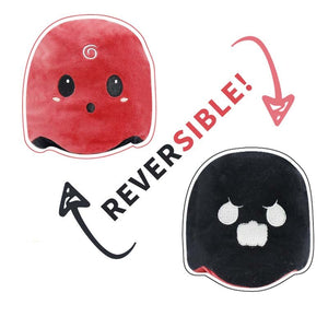 cute reversible ghost plush toy in red and black