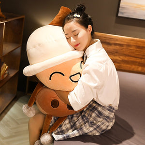 huggable cute boba bubble milk tea plush toy