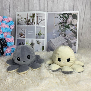 cute grey and white reversible octopus plush toy