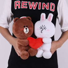 Load image into Gallery viewer, Cute brown bear plushie is in love with cute white bunny plushie!