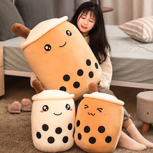 Load image into Gallery viewer, big bubble milk tea with boba plushie and two smaller bubble milk tea with boba plushies