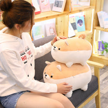 Load image into Gallery viewer, girl playing with light brown angry shiba inu plushies