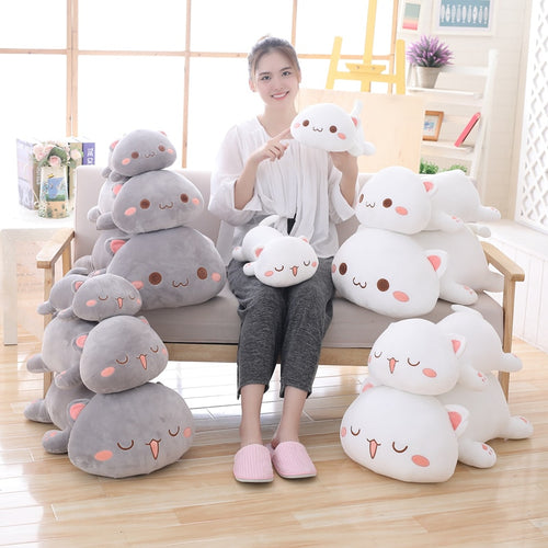 cute white lying cat plushie and cute grey lying cat plushie
