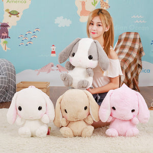 grey, white, pink, brown stuffed cute bunny backpack