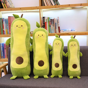 family of avocado long pillow or bolster plushies