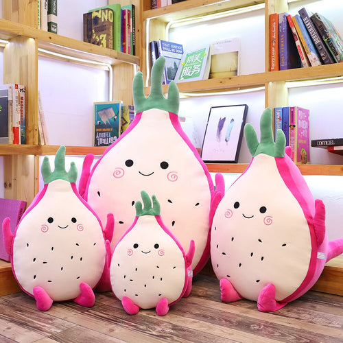 family of cute dragon fruit plushies